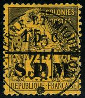 Oblitéré N° 15, 15c S/35c Violet Noir S/jaune, Oblitération Centrale, Superbe, Signé Calves Et Marquelet - Francobolli