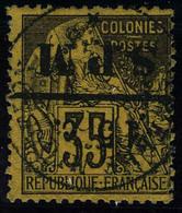 Oblitéré N° 15a, 15c Sur 35c Violet Noir Sur Orange Surcharge Renversée T.B. Signé Brun + Certificat - Francobolli