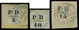 Fragment N° 16/17, Les 3 Valeurs PD Obl Fév. 86, 5 Et 15c Sur Fragment, 10c Isolé, Tous Superbes, Signés Calves - Francobolli