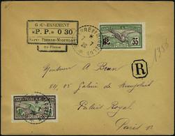 Lettre LR Affranchie Avec Cachet PP 030 + TP N° 86 Et 87, Càd St Pierre Et Miquelon 7.7.26 Pour Paris, T.B.  Maury - Francobolli