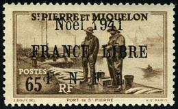 Neuf Sans Charnière N° 217B, 65c Brun, Noël 1941 France Libre, Surcharge Noire, T.B., Signé A.Brun - Francobolli