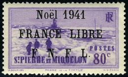 Neuf Sans Charnière N° 219B, 80c Violet, Noël 1941 France Libre, Surcharge Noire, T.B. - Francobolli