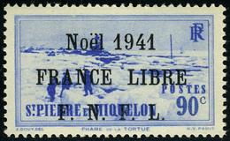Neuf Sans Charnière N° 220B, 90c Outremer, Noël 1941 France Libre, Surcharge Noire, T.B. - Francobolli