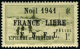 Neuf Sans Charnière N° 221B, 1f Olive, Noël 1941 France Libre, Surcharge Noire, T.B. - Non Classificati