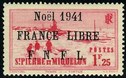 Neuf Sans Charnière N° 222B, 1f25 Rose-rouge, Noël 1941 France Libre, Surcharge Noire, T.B. Signé Calves - Francobolli