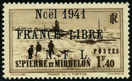 Neuf Sans Charnière N° 223B, 1f40 Brun, Noël 1941 France Libre, Surcharge Noire, T.B. - Francobolli
