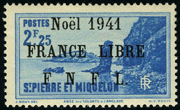 Neuf Sans Charnière N° 227B, 2f25 Bleu, Noël 1941 France Libre, Surcharge Noire, T.B. Signé Calves - Francobolli