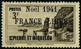 Neuf Sans Charnière N° 229B, 3f Sépia, Noël 1941 France Libre, Surcharge Noire, T.B. Signé Calves - Francobolli