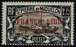 Neuf Sans Charnière N° 245a, 5f Sur1f75 France Libre, Surcharge Rouge, Type Différent, Maury 253B, T.B. Signé JF Brun - Francobolli