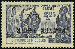 Neuf Sans Charnière N° 282A, 2f25 New York, Surcharge France Libre Renversée, T.B. Signé Calves - Francobolli