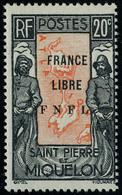 Neuf Sans Charnière N° 285, 20c France Libre TB Signé Calves - Non Classificati