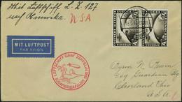 Lettre N° 39, Zeppelin SAF 1930, Paire Verticael Du PA 39 Sur L Càd Friedrichshafen 18.5.30 Pour Cleveland USA, Au Verso - Francobolli