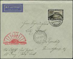 Lettre N° 42, Zeppelin Polarfahrt 1931, 4m Sépia Sur L Càd Friedrichshafen 24.7.31 Et Brise Glace Malyguine 27.VII.31 Po - Francobolli