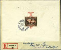 Lettre N° 7, Bloc RUBAN Brun Oblitéré Sur Lettre Recommandée Pour Darmstadt, T.B. (cote Michel 700€) - Francobolli