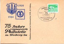 """(DDR-B2) DDR Sonderkarte """"75 Jahre Organisierte Philatelie In Freiberg/Sa"""", EF Mi 2483, SSt. 1.1.1984 FREIBERG 1 - Briefe U. Dokumente"""