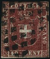 Oblitéré N°21. 40c Rouge. T.B. Signé  J.F. Brun (Sassone) - Francobolli