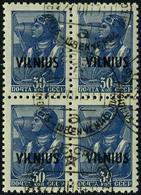 Oblitéré 4 Valeurs Différentes Surchargées Vilnius En Blocs De 4 Timbres, T.B. (Michel 10/12 + 14) - Non Classificati