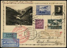 Lettre Zeppelin. 7. SAF. E.P. Illustré Avec Complément D'affranchissement. CàD Praha 23.IX.32. Cachets De Transit De Ber - Francobolli