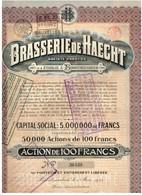 Ancienne Action - Brasserie De Haecht Société Anonyme - Titre De 1921 - Titre N°36439 - Industrie