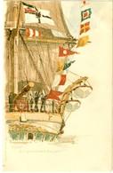 KAISER WILHELM II Marine Color Litho Signiert Künstler Werner Bohrdt S.M.S. MOLTKE Reichskriegsflagge Signal Glückliches - Guerre