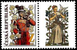 Czech Republic - 2015 - Postal Services In Historic Murals - Mint Stamp With Personalized Coupon (type C) - Ungebraucht