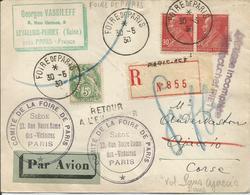 1930 - N° 243 (x2) Et 111 Oblitérés (o) Sur Lettre RECOMMANDEE PAR AVION - FOIRE DE PARIS 30/05/1930. Vol PARIS -AJACC - France