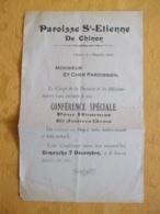CHINON 37 - PAROISSE ST ETIENNE INVITATION A UNE CONFERENCE 7 DECEMBRE 1913 - Faire-part