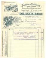 Facture Fabrique De Confiserie Bonbons Lyonnais / Anglais, C. Bénier, Succ., Lyon Vaise - France