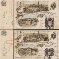 Württemberg 1897. 2 Entiers Postaux TSC. Industrie-Gewerbe Und Kunst-Ausstellung, Erreur De Couleur Rouge. Raisins - Vins & Alcools