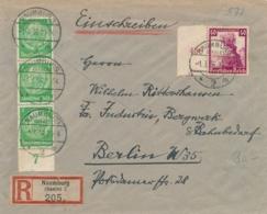 Deutsches Reich - 1936 - 40Pf Nothilfe + 3x 5Pf On R-cover From Naumburg To Berlin - Duitsland