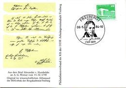 "(DDR-B2) DDR Sonderkarte ""Alexander Vom Humboldt"", EF Mi 2484, SSt. 6.5.1984 FREIBERG 1 - Briefe U. Dokumente"