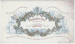 20975Mg Carte Porcelaine BALASSE & FILS - Mds. TAILLEURS - DRAPERIE - Rue D'Arenberg 1 - Bruxelles - 14x8.2c - Cartes De Visite