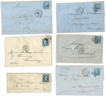 6 Enveloppes LAC 1857 / 1865, Le Havre, Beaune, Craponne, Bordeaux - France