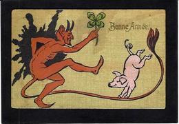 CPA Diable Devil Krampus Cochon Pig Circulé - Fairy Tales, Popular Stories & Legends