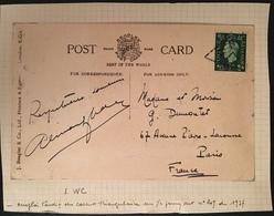 Grande Bretagne N°209 Sur Carte Postale Oblitéré Du Cachet Triangulaire  LWC Emploi Tardif ! - Briefe U. Dokumente