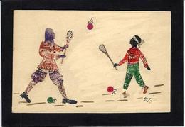 CPA Carte Faite à La Main Avec Des Timbres Découpés, Philatélie Non Circulé Volant Badmington Tennis - Stamps (pictures)