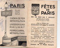 Paris :programme FETES DE PARIS (c1935) AVEC PLAN DU METRO EN COULEUR AU VERSO (PPP17044) - Europe