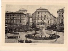 Italie :Genes Piazza Corvetto (reproduction De Photo Ancienne En Noir Et Blanc De 20 Cm Sur 27 Cm) - Photographie