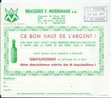 BRASSERIE MOEREMANS CHAUSSEE DE MONS 824 1070 BRUXELLES - Belgique
