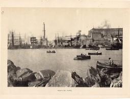 Italie :Genes Veduta Del Porto (reproduction De Photo Ancienne En Noir Et Blanc De 20 Cm Sur 27 Cm) - Photographie