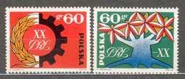 POLAND MNH ** 1330-1331 ANNIVERSAIRE DE LA REPUBLIQUE. ARBRE DE LA RENAISSANCE. INDUSTRIE ET AGRICULTURE - 1944-.... Republik