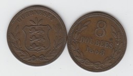 Guernsey Coin 8 Doubles 1868 - Guernesey