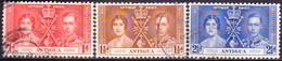 ANTIGUA 1937 SG #95-97 Compl.set Used CV £8.50 Coronation - Antigua & Barbuda (...-1981)