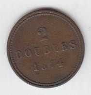 Guernsey Coin 2 Doubles 1874 - Guernesey