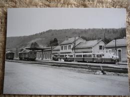 DIVONNE LES BAINS : La Gare Avec 2 Trains SNCF Et CFF à Quai En 1953 - Stations - Met Treinen