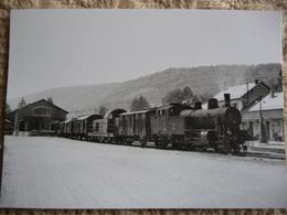 DIVONNE LES BAINS : La Gare En 1961 Avec 1 Train De Fret SNCF Manoeuvrant Avec Une Locomotive CFF - Stations - Met Treinen