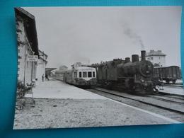 DIVONNE LES BAINS : La Gare En 1962 Avec 1 Autorail X 3800 SNCF à Destination De BELLEGARDE Et Un Train à Vapeur Des CFF - Stations - Met Treinen