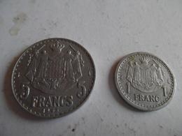 Lot De Pieces De Monaco  De 1 Et 5 Francs  De  1945 - Monaco
