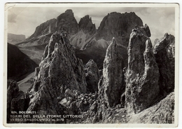 DOLOMITI - TORRI DEL SELLA (TORRE LITTORIO) VERSO SASSOLUNGO - 1941 - Vedi Retro - Trento
