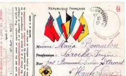 CP- Expédiée De La Zone Des Armées- 5 Drapeaux- - Marcophilie (Lettres)